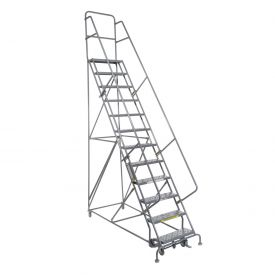 "14 Step 24""W 10""D Top Step Steel Rolling Ladder - Perforated Tread"
