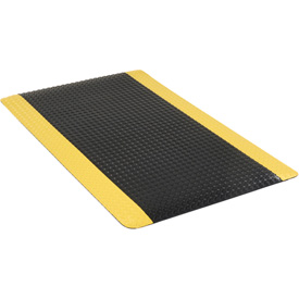 "Diamond Plate Ergonomic Mat 15/16"" Thick 36""x60"" Black/Yellow Border"