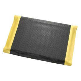 "Diamond Plate Ergonomic Mat 15/16"" Thick 36"" Wide Black/Yellow Border Up To 75ft"