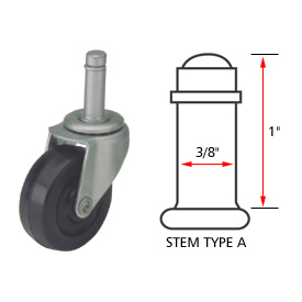 Algood Standard Series Chair Caster with Soft Rubber Wheel S803-375SX1SR - Stem Type A