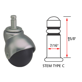 Ball Series Chair Caster with Plastic Wheel - Stem Type C