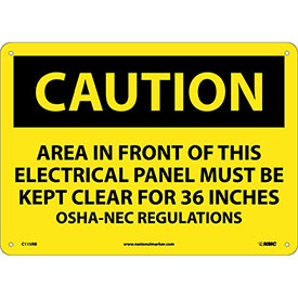 "Safety Signs Caution Area Rigid Plastic 10""H X 14""W by"