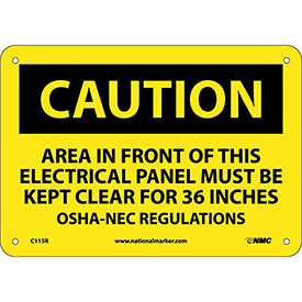 "Safety Signs Caution Area Rigid Plastic 7""H X 10""W by"