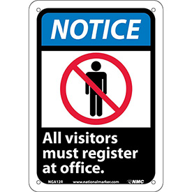 """Graphic Signs - Notice All Visitors Must Register - Plastic 7""""W X 10""""H"""