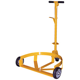 Vestil Low-Profile Drum Caddy with Bung Wrench Handle LO-DC-MR - Mold-on Rubber Wheels