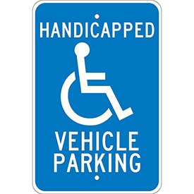 "Aluminum Sign - Handicapped Vehicle Parking - .08"" Thick, TM10J"