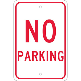"Aluminum Sign - No Parking - .08"" Thick, TM1J"