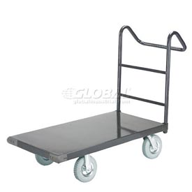 "Steel Deck Platform Truck 72 x 36 1200 Lb. Capacity 8"" Pneumatic Casters with Ergo Handle"