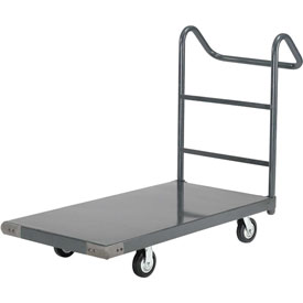 "Steel Deck Platform Truck 48 x 24 2000 Lb. Capacity 6"" Rubber Casters with Ergo Handle"