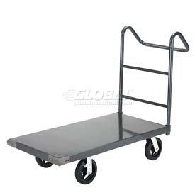 "Steel Deck Platform Truck 48 x 24 2400 Lb. Capacity 8"" Rubber Casters with Ergo Handle"