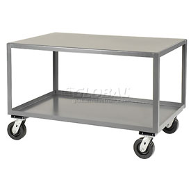 Jamco All Welded Portable Steel Table LX348 2 Shelves 48x30 3000 Lb. Capacity