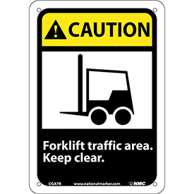 "Graphic Signs - Caution Forklift Traffic Area - Plastic 7""W X 10""H"