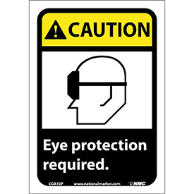 """Graphic Signs Caution Eye Protection Required Vinyl 7""""W X 10""""H by"""