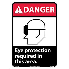 "Graphic Signs - Danger Eye Protection Required - Vinyl 10""W X 14""H"