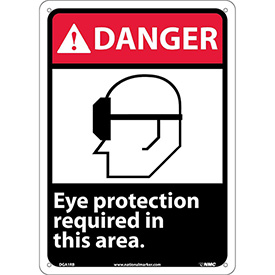 "Graphic Signs - Danger Eye Protection Required - Plastic 10""W X 14""H"