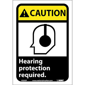 "Graphic Signs - Caution Hearing Protection - Vinyl 7""W X 10""H"