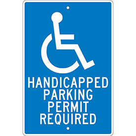 Aluminum Sign - Handicapped Parking Permit - .063mm Thick