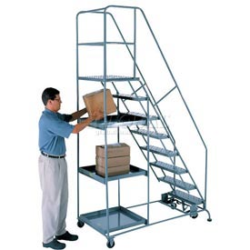 8 Step Steel Stock Picking Ladder - Perforated Tread