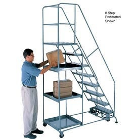 9 Step Steel Stock Picking Ladder - Perforated Tread