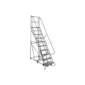 10 Step Steel Easy Turn Rolling Ladder - Standard Angle