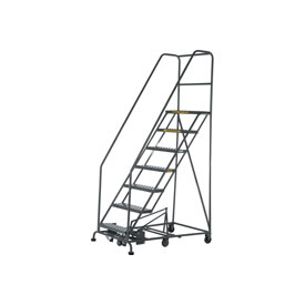 7 Step Steel Easy Turn Rolling Ladder - Safety Angle