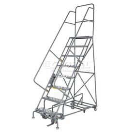 8 Step Steel Easy Turn Rolling Ladder - Safety Angle