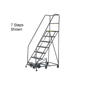 12 Step Steel Easy Turn Rolling Ladder - Safety Angle
