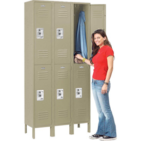 Infinity™ Locker Double Tier 12x15x36 6 Door Assembled Tan