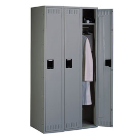 Tennsco Steel Locker STK-121572-C 02- Single Tier w/o Legs 3 Wide12x15x72 Unassembled, Medium Grey