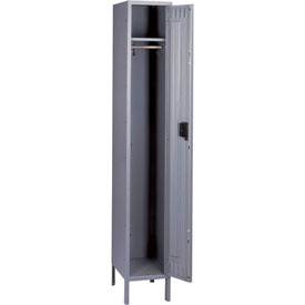 Tennsco Steel Locker STK-121872-1 02 - Single Tier w/Legs 1 Wide 12x18x72 Unassembled, Medium Grey