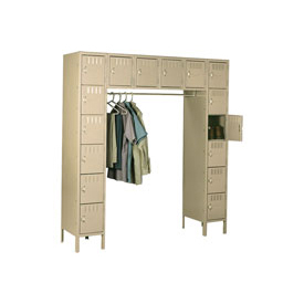 Tennsco Steel Locker SRS-721878-1 214 - 16 Person w/Legs 12x18x12 Assembled Sand