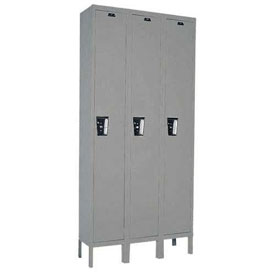 Hallowell UY3228-1A- Maintenance-Free Quiet Locker Single Tier 12x12x72 3 Door Assembled Gray