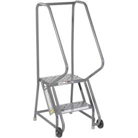 "2 Step Steel 16""W Step Tilt And Roll Ladder - Perforated Tread - KDTF102166"
