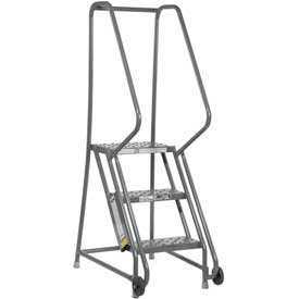 "3 Step Steel 16""W Step Tilt And Roll Ladder - Perforated Tread - KDTF103166"