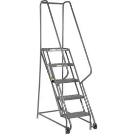 "5 Step Steel 16""W Step Tilt And Roll Ladder - Grip Strut Tread - KDTF105162"