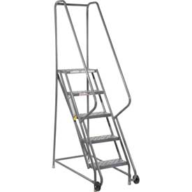 "5 Step Steel 16""W Step Tilt And Roll Ladder - Perforated Tread - KDTF105166"