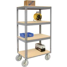 Easy Adjust Boltless 4 Shelf Truck 60 x 24 with Wood Shelves - Pneumatic Casters