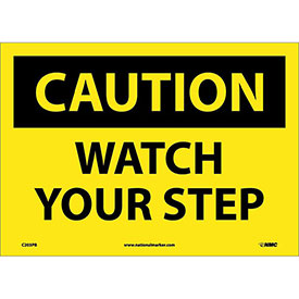 "Safety Signs - Caution Watch Your Step - Vinyl 10""H X 14""W"