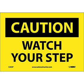 "Safety Signs Caution Watch Your Step Vinyl 7""H X 10""W by"
