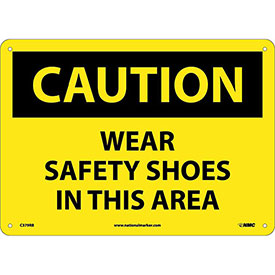 "Safety Signs Caution Wear Safety Shoes Rigid Plastic 10""H X 14""W by"