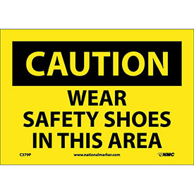 "Safety Signs Caution Wear Safety Shoes Vinyl 7""H X 10""W by"