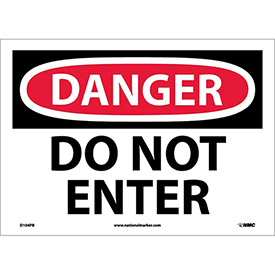 "Safety Signs - Danger Do Not Enter - Vinyl 10""H X 14""W"