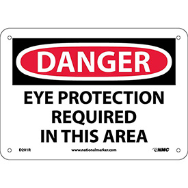 "Safety Signs Danger Eye Protection Rigid Plastic 7""H X 10""W by"