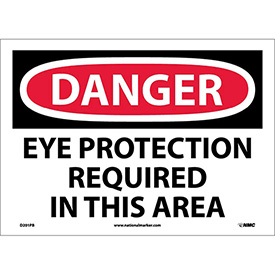 "Safety Signs Danger Eye Protection Vinyl 10""H X 14""W by"