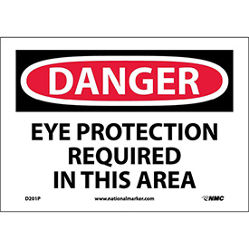 "Safety Signs Danger Eye Protection Vinyl 7""H X 10""W by"