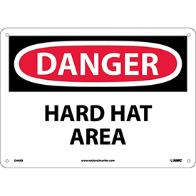 "Safety Signs - Danger Hard Hat Area - Rigid Plastic 10""H X 14""W"