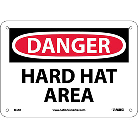 "Safety Signs - Danger Hard Hat Area - Rigid Plastic 7""H X 10""W"