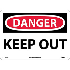 """Safety Signs - Danger Keep Out - Rigid Plastic 10""""H X 14""""W"""