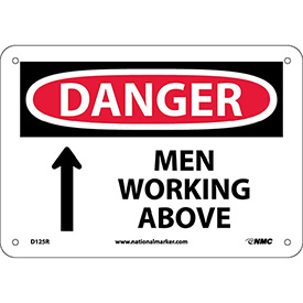 "Safety Signs - Danger Men Working Above - Rigid Plastic 7""H X 10""W"