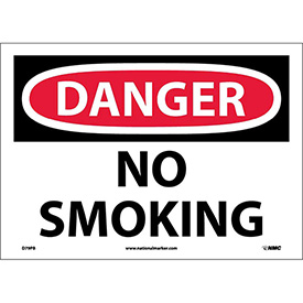 "Safety Signs - Danger No Smoking - Vinyl 10""H X 14""W"